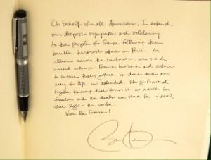 Obama, livre de condoléances, ambassade de France - Washington
